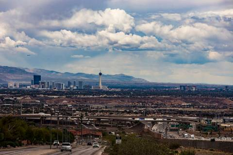 A view from Henderson of the north end of the Strip and downtown with cloud cover, Wednesday, M ...