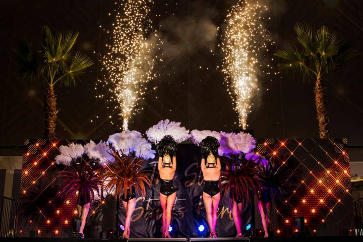 Dancers and fireworks highlight an event to announce the renaming of SLS Las Vegas to Sahara La ...