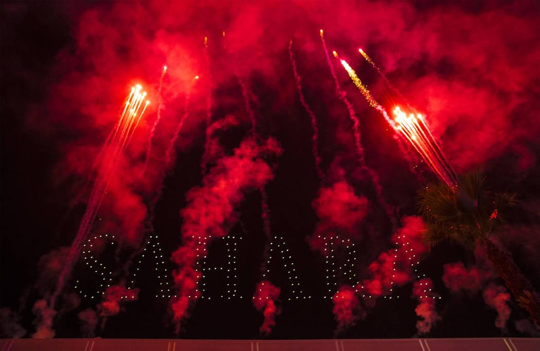 Fireworks highlight an event to announce the renaming of SLS Las Vegas to Sahara Las Vegas on T ...