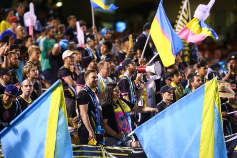 Chase Stevens/Las Vegas Review-Journal Las Vegas Lights FC fans cheer during a United Soccer Le ...