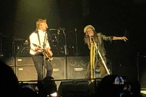 "Paul McCartney and Steven Tyler are shown performing ""Helter Skelter"" at McCartney's ""Freshen U ..."