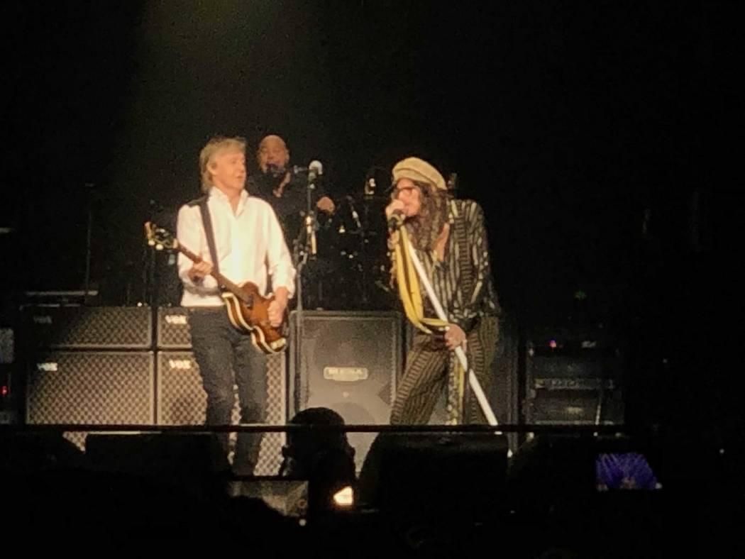 "Paul McCartney and Steven Tyler are shown performing ""Helter Skelter"" at McCartney's ""Freshen U ..."