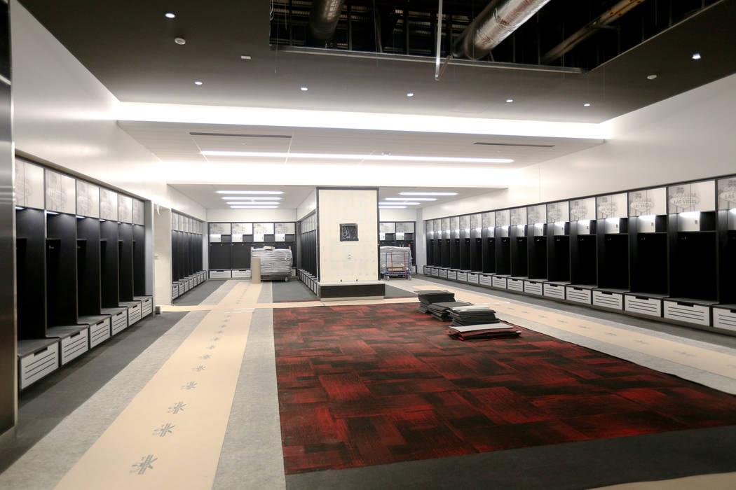 The locker room at the new UNLV Fertitta Football Complex, still under construction, in Las Veg ...