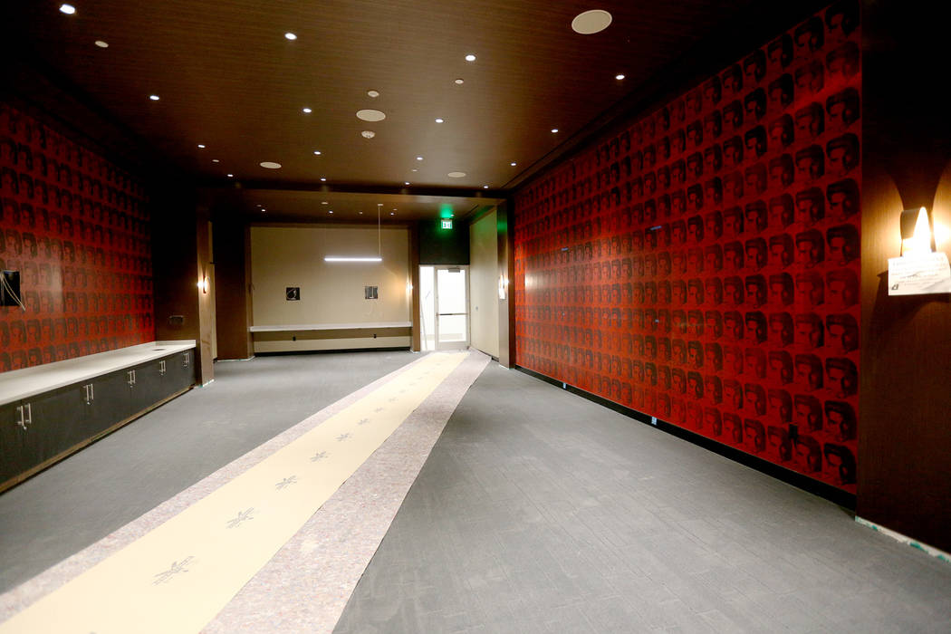 An entertainment room for players at the new UNLV Fertitta Football Complex, still under constr ...