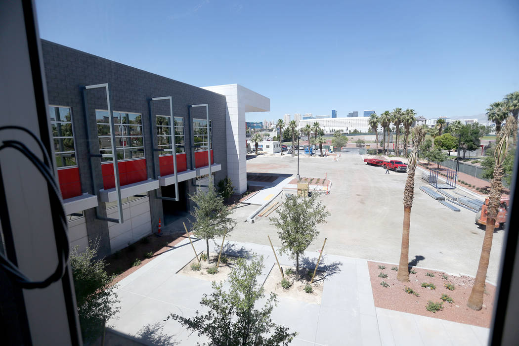 The view from the dining hall at the new UNLV Fertitta Football Complex, still under constructi ...