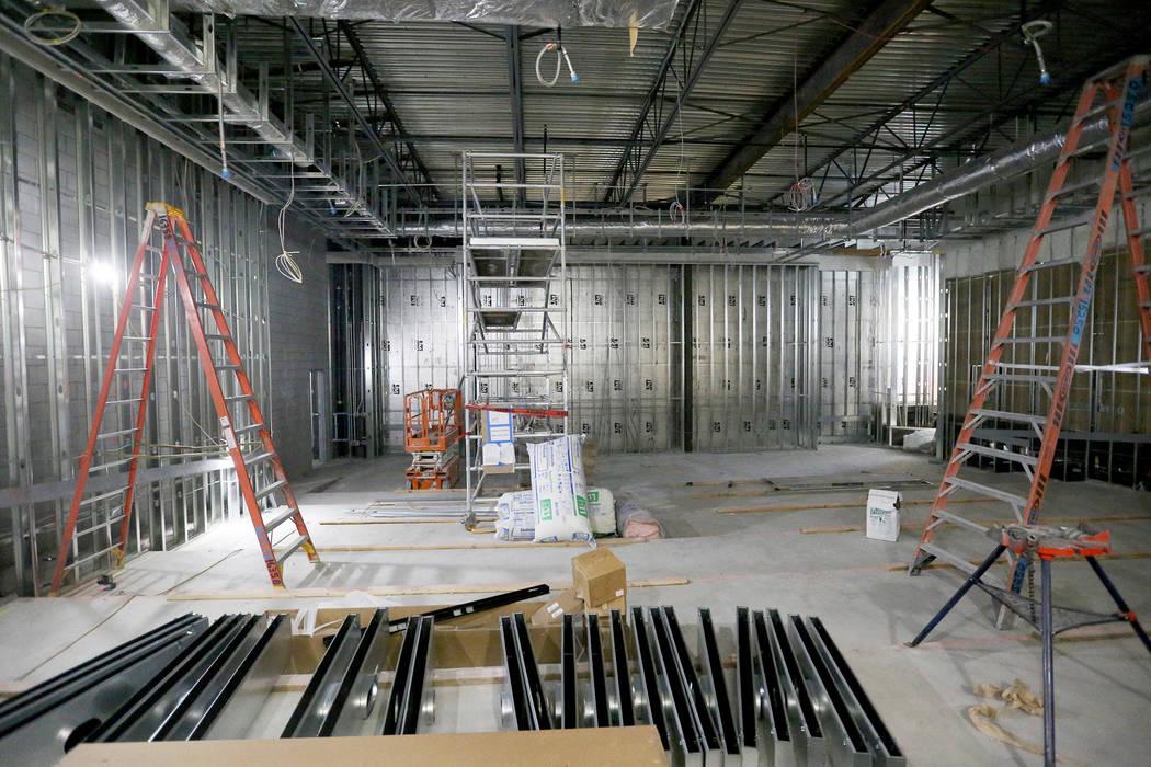 The large theatre room at the new UNLV Fertitta Football Complex, still under construction, in ...