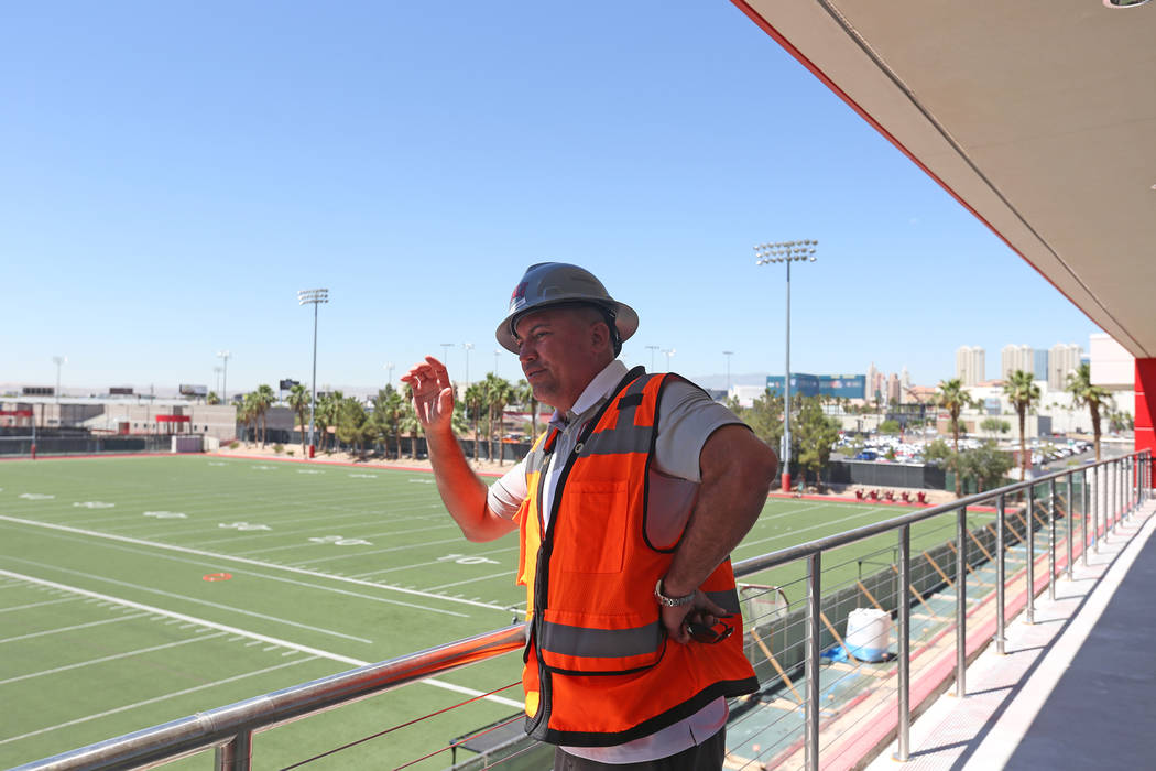 Coach Tony Sanchez leads a tour for the Review-Journal at the new UNLV Fertitta Football Comple ...