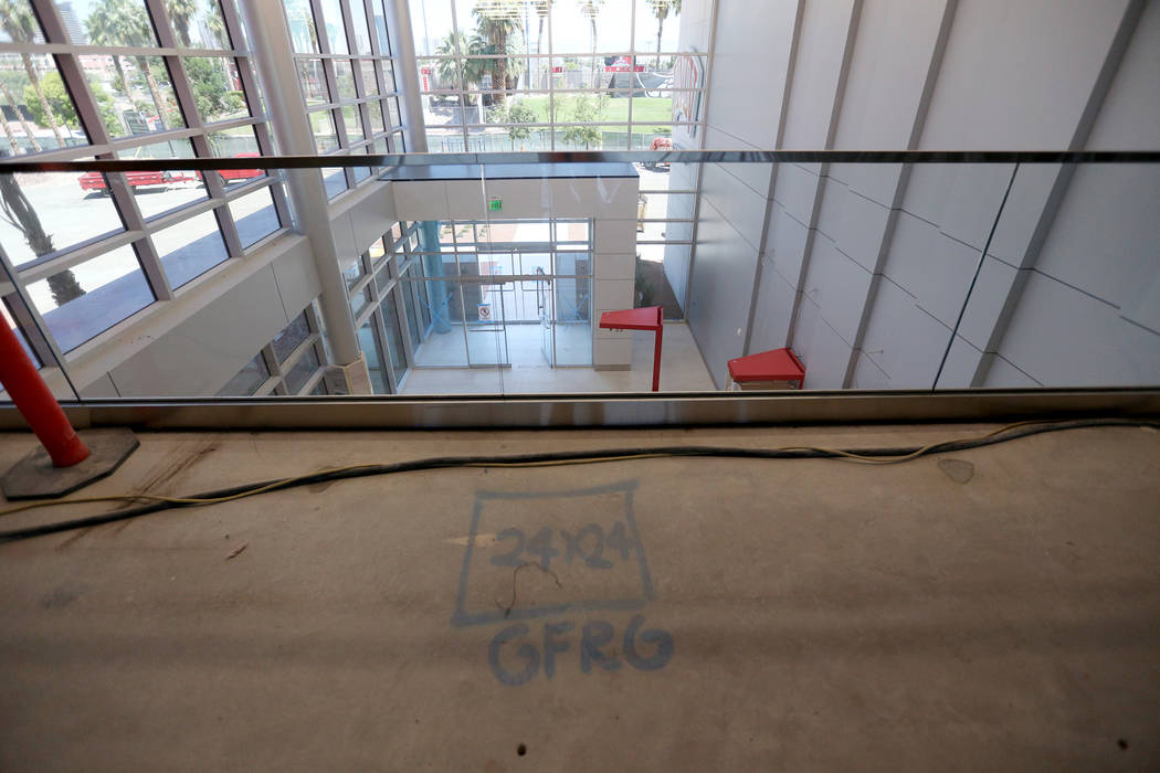 The spot above the main entrance where the Fremont Canon will sit at the new UNLV Fertitta Foot ...