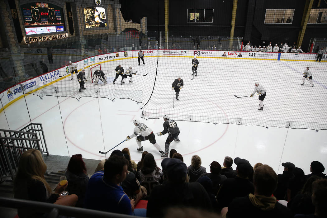 Players during a development camp scrimmage at City National Arena in Las Vegas, Saturday, June ...
