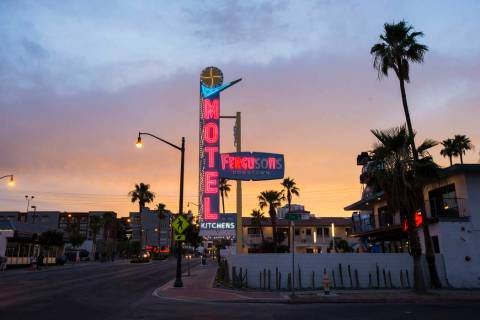 A view of Fergusons Downtown along Fremont Street as the sun sets in Las Vegas on Saturday, Jun ...