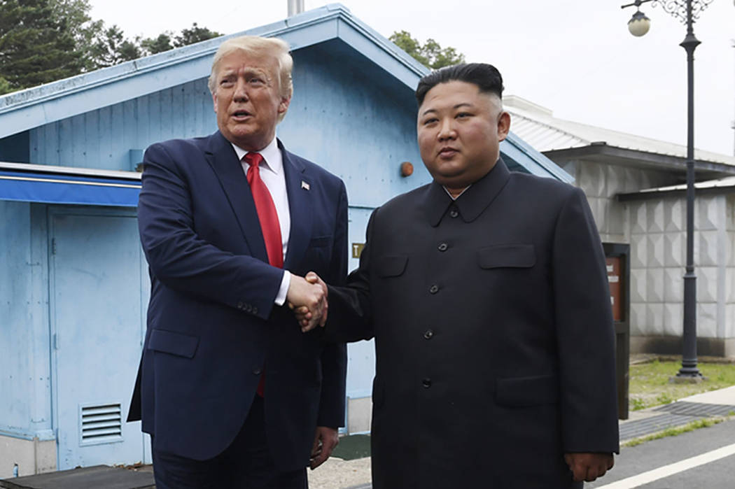 President Donald Trump meets with North Korean leader Kim Jong Un at the border village of Panm ...