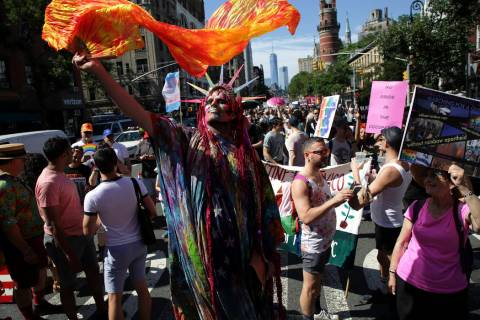 Marchers participate in the Queer Liberation March in New York, Sunday, June 30, 2019. (AP Phot ...
