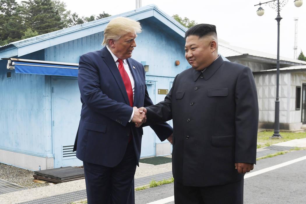 President Donald Trump meets with North Korean leader Kim Jong Un at the border village of Panm ...