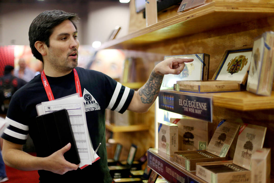 Robert Cantillo of Foundation Cigars speaks to the Review-Journal at the International Premium ...