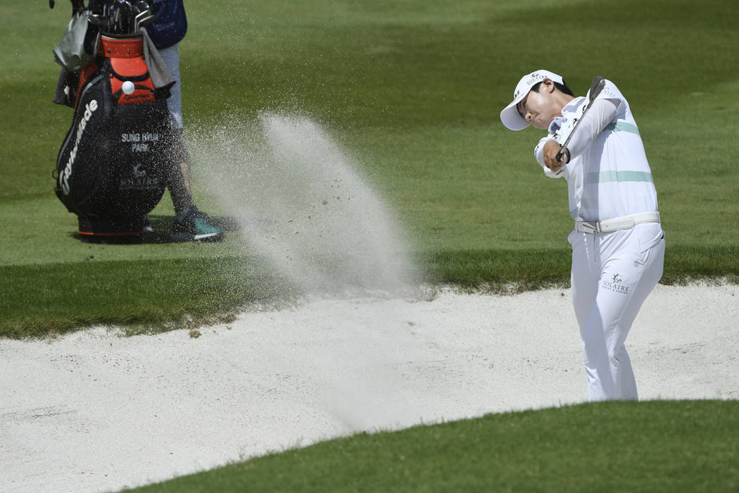 Sung Hyun Park hits out of a bunker on the 9th hole in the LPGA Walmart NW Arkansas Championshi ...