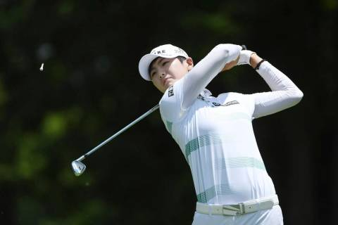 Sung Hyun Park watches her tee shot on the 3rd hole during the final round of the LPGA Walmart ...