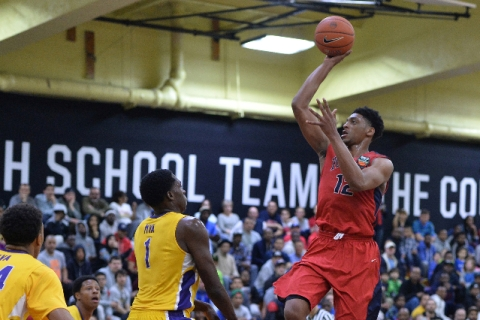 UNLV recruit Justin Jackson puts up a shot for Findlay Prep while competing in the High Scho ...