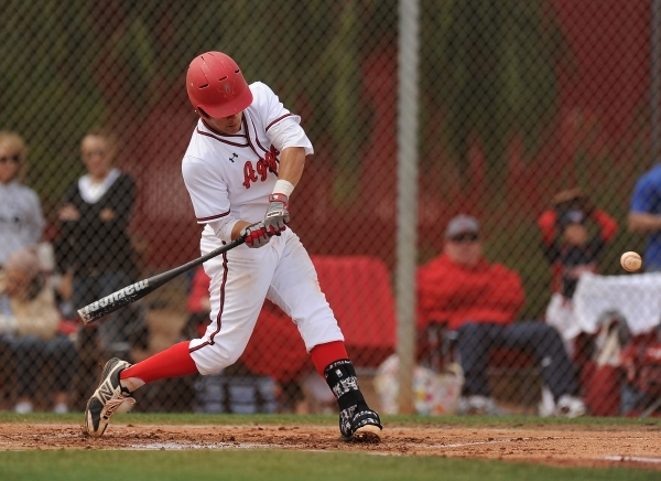 Arbor View's Nicholas Quintana hits a two-run home run in the first inning of their pr ...