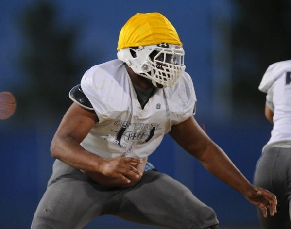 Centennial defensive lineman Greg Rogers is seen during their football practice at Centennia ...