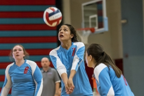 Destiny Gonzalez of Western High School prepares to hit the ball against Faith Lutheran High ...