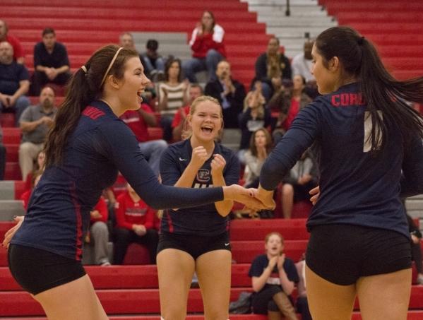 Coronado High School celebrates a point during the Sunrise Region girls volleyball final aga ...