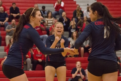 Coronado High School celebrates a point during the Sunrise Region girls volleyball final aga ...