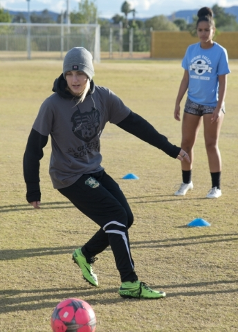 Samantha Meyers practices with the ball on the Spring Valley High School soccer field on Tue ...