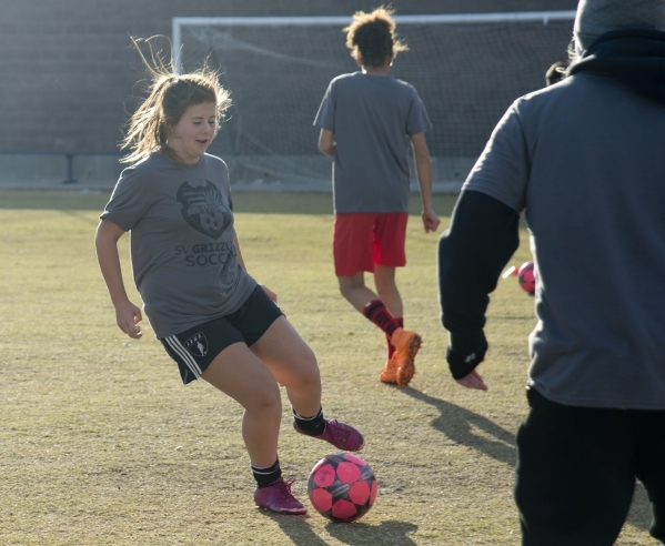 Whitney Robison practices with the ball on the Spring Valley High School soccer field on Tue ...