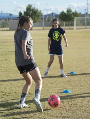 Sahana Bojorquez practices with the ball on the Spring Valley High School soccer field on Tu ...