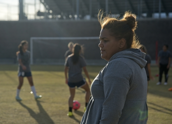The Spring Valley High School girls soccer coach Yamilza Rivera watches her players during p ...