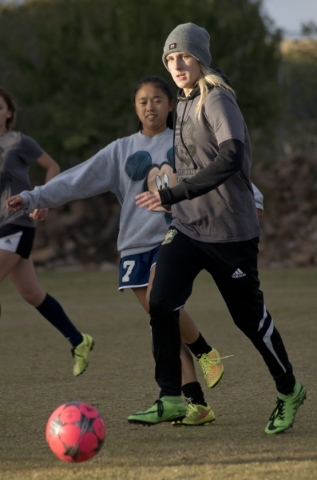 Samantha Meyers practices with the ball during practice on the Spring Valley High School soc ...