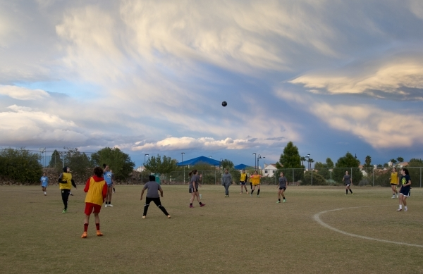 The Spring Valley High School girls soccer team practices on the Spring Valley High School ...