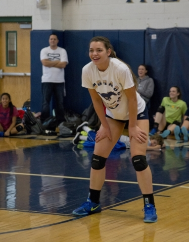 Shadow Ridge girls volleyball player Whittnee Nihipali awaits the ball during practice at Sh ...