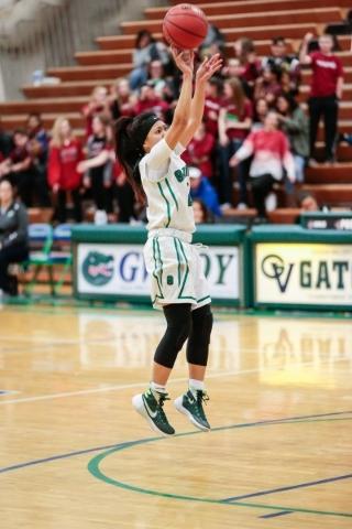 Green Valley senior Gwen Garcia (2) shoots the ball during a basketball game against Desert ...