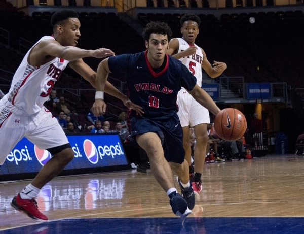 Findlay Prep's Markus Howard (0) moves the ball past Victory Prep's Emery Vander ...