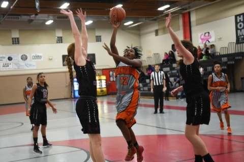 Chaparral's Shanice Aycox (12) shoots the ball against Utah's Layton Christian d ...