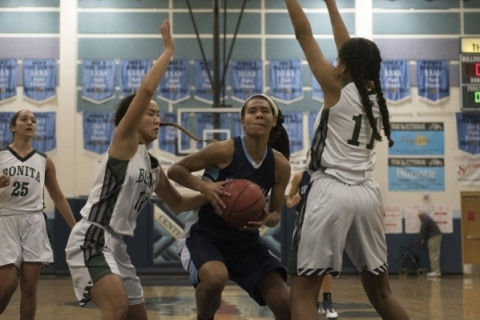 Centennial High School's Samantha Thomas (25) prepares to shoot against Bonita High Sc ...