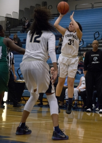 Foothill's Bri Rosales (31) takes a shot at the basket during their home game against ...