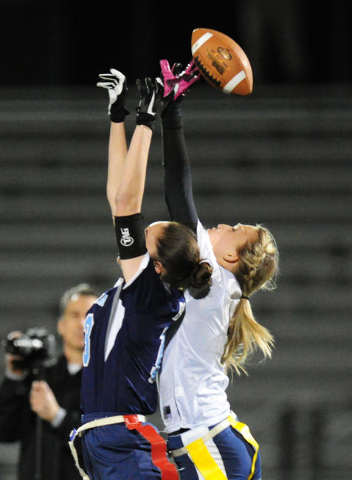 Centennial wide receiver Ashley Marshall is unable to catch a pass against Foothill safety S ...