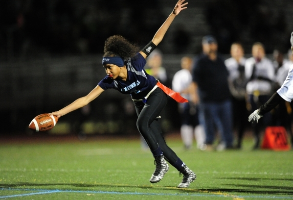Centennial wide receiver Aliyah Wyrick scores a touchdown against Foothill in the first half ...