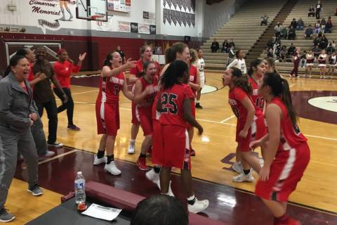 Arbor View's girls basketball team celebrates after edging Cimarron-Memorial on the ro ...