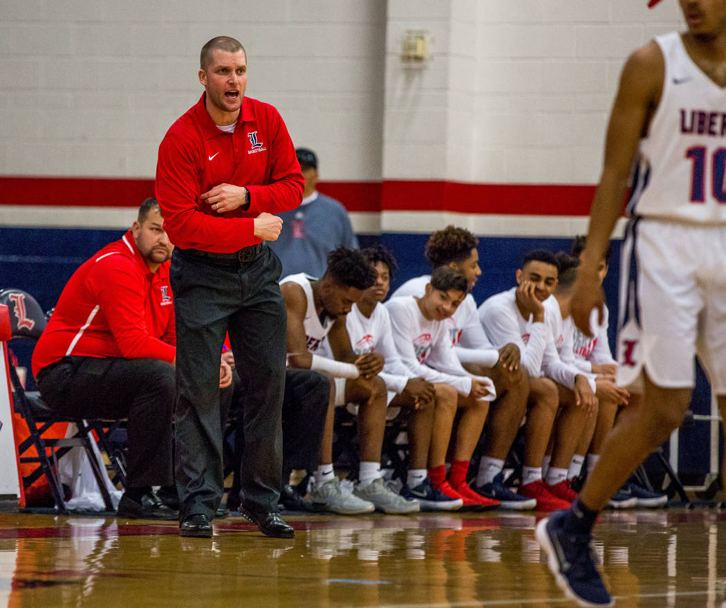 Liberty head coach Stefan Berg yells from the bench during a game against Foothill at Libert ...