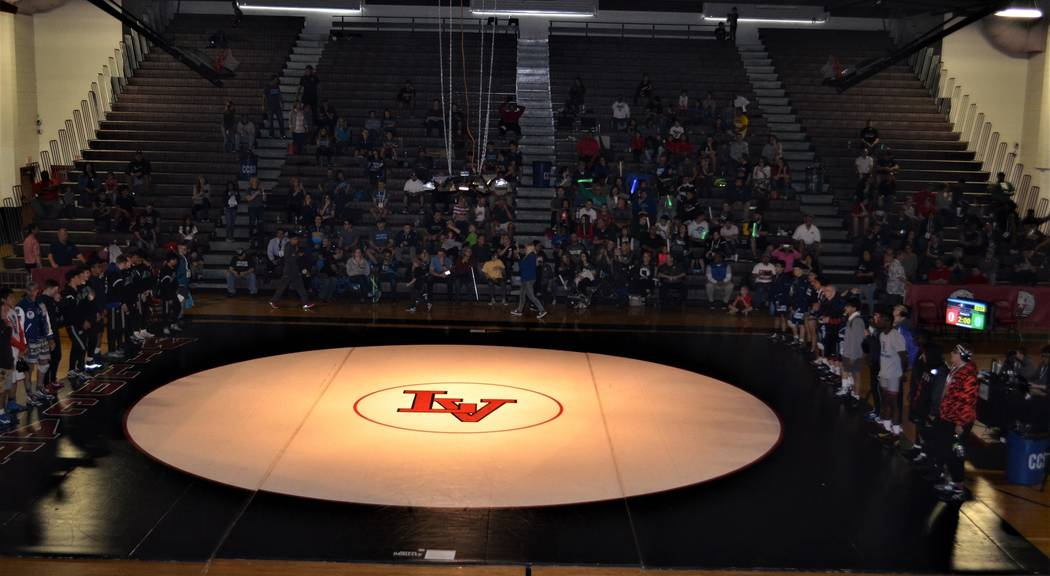 The finalists are introduced during faceoffs prior to the start of the Sunrise Region wrestl ...