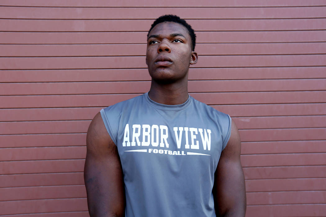 Arbor View's Elijah Wade, the best uncommitted football recruit in Nevada, at Arbor Vi ...