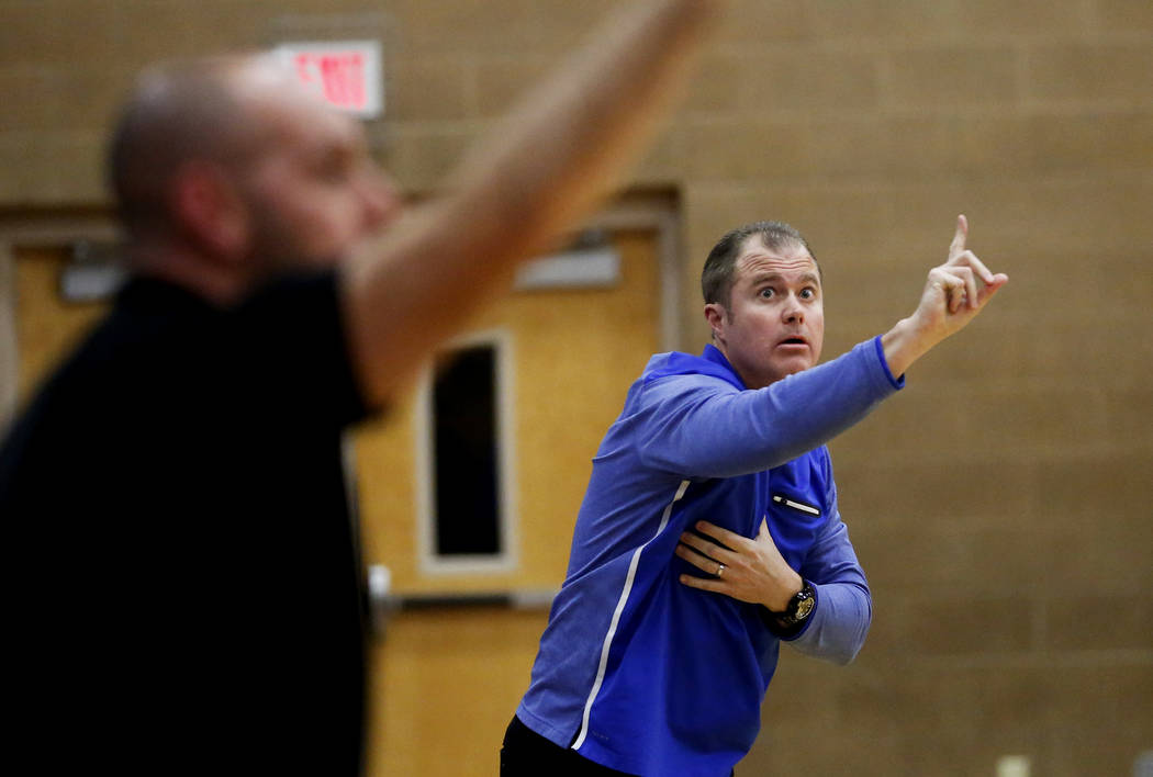 Bishop Gorman head coach Grant Rice directs his team against Clark during the Sunset Region ...