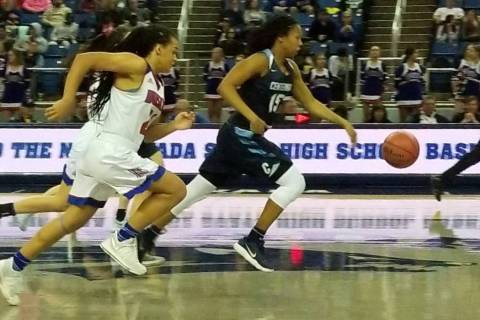 Daejah Phillips advances the ball against Reno on Thursday, Feb. 22, 2018 at Lawlor Events C ...