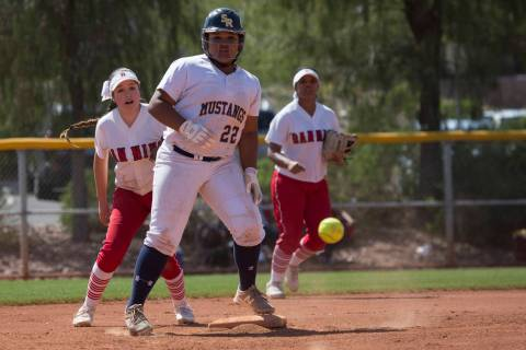 Shadow Ridge sophomore Alyssa Stanley safely makes it to second base as Banning misses a pas ...