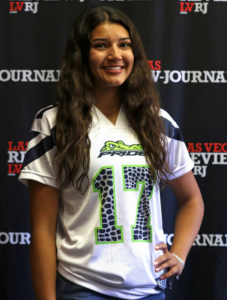 Green Valley High School flag football standout Izzy Madrid is photographed in Las Vegas, Tu ...