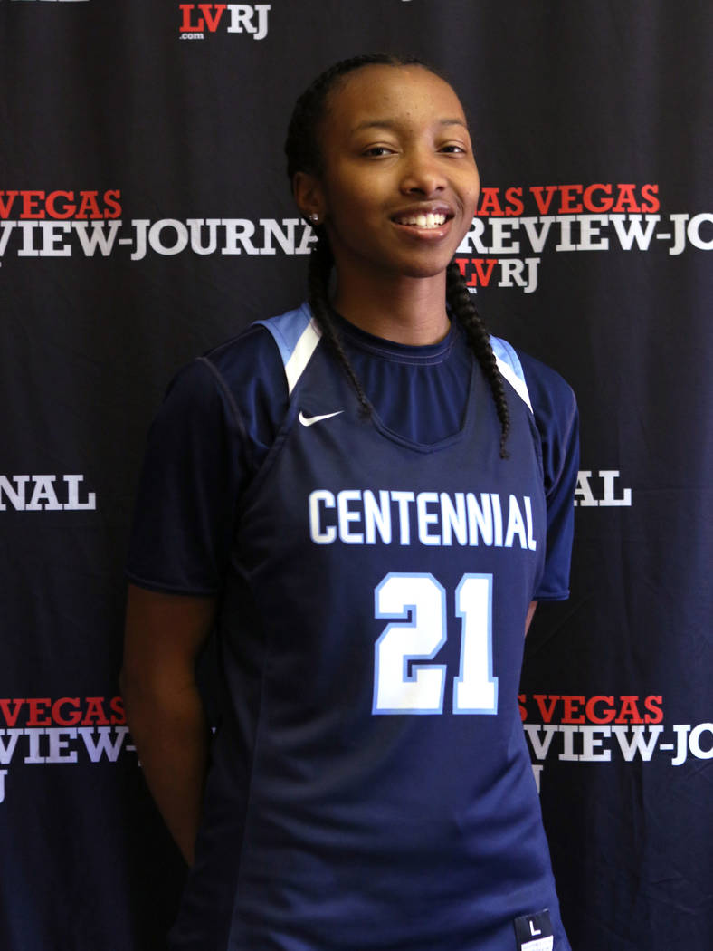 Justice Ethridge from the Centennial High School basketball team is photographed at the Revi ...