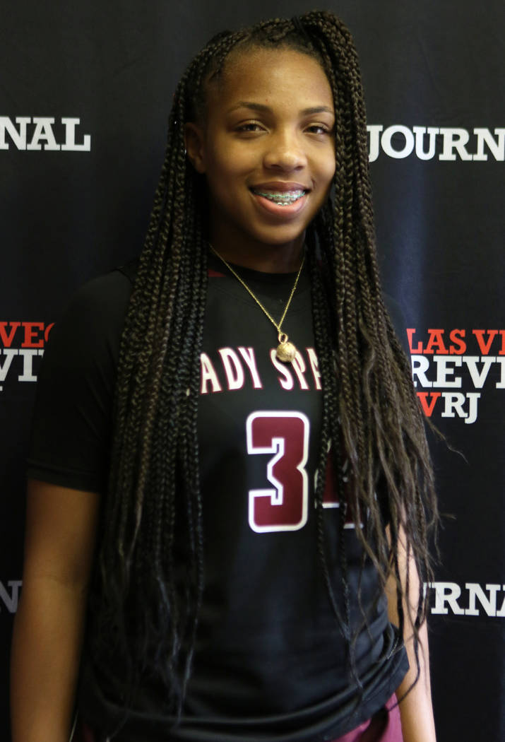 Cimarron-Memorial High School basketball standout Tasia Moore is photographed at the Review- ...